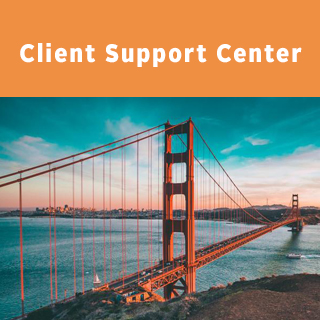 San Francisco Picture with orange block that says client support center
