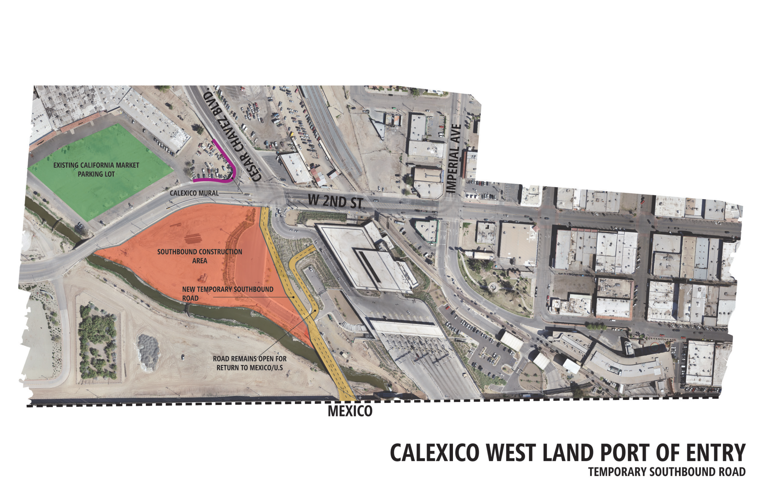 Map showing temporary roadway for Calexico West project