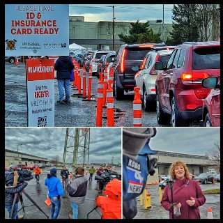Photo montage - 1st: vehicle line for COVID vaccine; 2nd: King County Executive, Constantine; 3rd: Auburn Mayor Backus