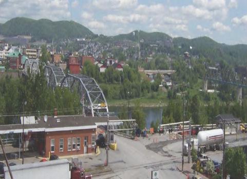 Aerial view of the madawaska bridge and the LPOE