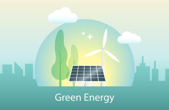 Illustration featuring wind turbine, solar panel and green trees with city skyscape in background with text displaying Green Energy