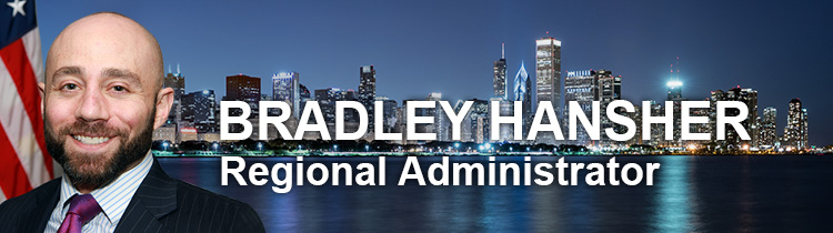 Banner with Chicago skyline and Regional Administrator Bradley Hansher