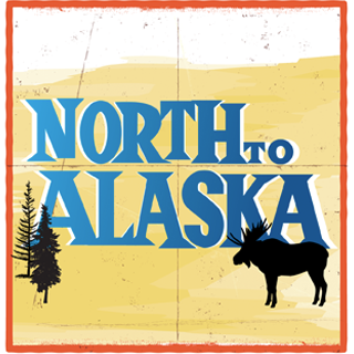 Decorative banner of North to Alaska, picture of silhouette fir trees to the left of the title and a silhouette moose on the right of the title