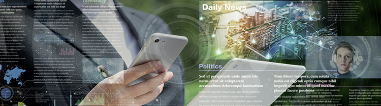 A man holding a device with an abstract overlay of what is on his screen, such as news stories, photos, and articles