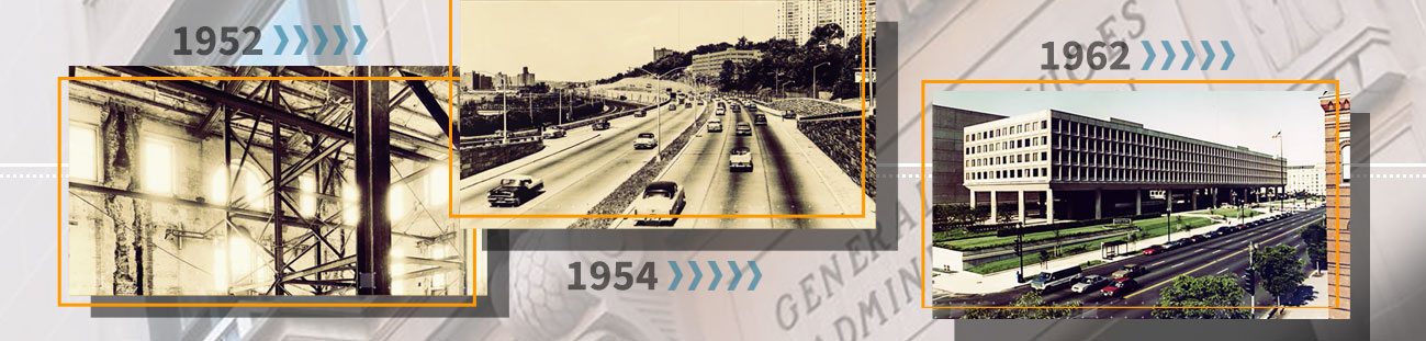 GSA at 70: White House renovations in 1952, highway traffic in 1954, a federal building in 1962