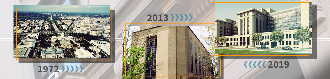 GSA at 70: overview of Washington DC in 1972, government building for disposal in 2013, and 1800 F St building in 2019