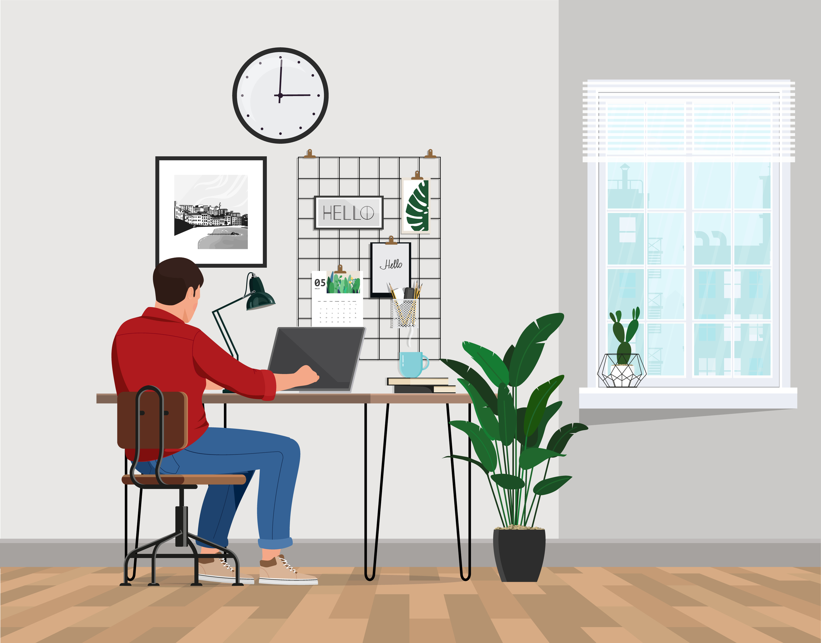 clipart of a man sitting at a computer at home